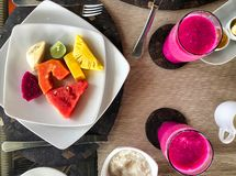 Tropical fruits assortment for typical indonesian breakfast stock photos