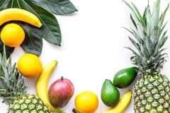 Tropical fruits background. Mango near exotic leaf, banana, oranges and pineapple on white top view copyspace Stock Image