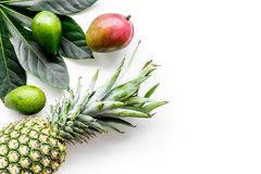 Tropical fruits background. Mango near exotic leaf and pineapple on white top view copyspace Royalty Free Stock Images