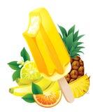 Tropical fruits banana, pineapple, orange, lemon, popsicle Ice-c Royalty Free Stock Photography