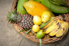 Tropical Fruits Basket. Close up of Tropical Fruits Basket Royalty Free Stock Photos