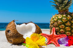 Tropical fruits on the beach Stock Photo