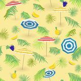 Tropical fruits,beach with palm leaves and beach umbrellas. Seamless pattern. royalty free illustration