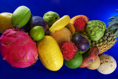 Tropical fruits on blue background. Assortment of various tropical fruits on a blue background Stock Photo