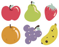 Tropical Fruits Collection. Vector illustrations of tropical fruits. Each illustration is grouped individually Royalty Free Stock Images