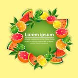 Tropical fruits colorful circle copy space organic over yellow background healthy lifestyle or diet concept vector illustration