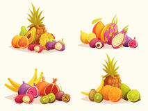 Tropical Fruits 4 Colorful Compositions Set Royalty Free Stock Photo