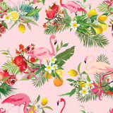 Tropical Fruits, Flowers and Flamingo Birds Seamless Background. Retro Summer Pattern vector illustration