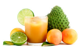 Tropical fruits and fresh juice Stock Photography