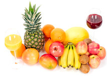 Tropical fruits with fruit juices Royalty Free Stock Image