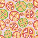 Tropical fruits green red pink vector pattern stock illustration