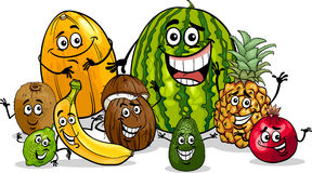 Tropical fruits group cartoon illustration Royalty Free Stock Photo