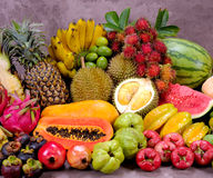 Tropical fruits. Having remarkably great qualities, you can always eat them unprocessed and without any added sugars. Being an important source of carbohydrate Stock Image