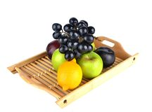 Tropical fruits. fruits isolated. Tropical fruits. grape apple orange isolated Royalty Free Stock Photos