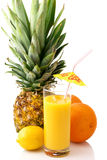 Tropical fruits and juice Stock Images