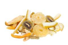 Tropical fruits mix. Consist of mango, pineapple, muskmelon, banana and kiwi Royalty Free Stock Image