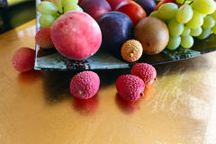 Tropical Fruits On A Kitchen Table Stock Photos