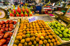 Tropical fruits in packages Royalty Free Stock Photo