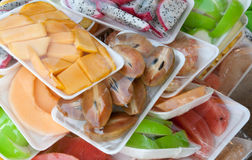 Tropical fruits in packing Stock Images