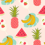 Tropical fruits pattern Stock Image