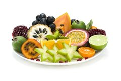 Tropical fruits plate royalty free stock image