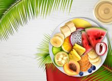 Tropical Fruits Plate Realistic vector illustration
