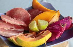 Tropical fruits platter Stock Photography