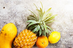 Tropical Fruits Raw Eating Concept Food Dark Background Royalty Free Stock Photos