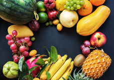 Tropical Fruits Raw Eating Concept Food Dark stock photography