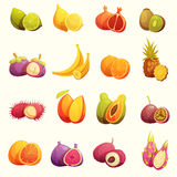 Tropical Fruits Retro Cartoon Icons Set stock illustration
