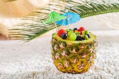 Tropical fruits salad in pineapple. On white pebbles Royalty Free Stock Image