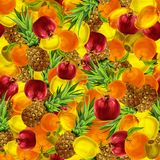 Tropical fruits seamless background Royalty Free Stock Photography