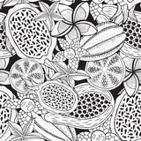 Tropical fruits - seamless pattern for coloring book. Ink hand drawn illustration. Vector artwork royalty free illustration