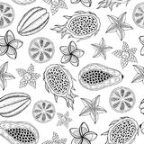 Tropical fruits seamless pattern - coloring page for adults. Graphic sketch art. Vector illustration vector illustration