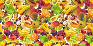 Tropical fruits seamless pattern, falling fruits isolated on white background stock photo