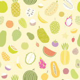 Tropical fruits seamless pattern. Vector hand drawn illustration Stock Photo