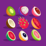 Tropical Fruits Sliced In Half Set Of Bright Icons Stock Images