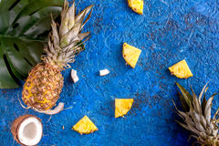 Tropical fruits for summer design on blue background top view Royalty Free Stock Image