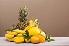 Tropical fruits on the table Stock Photos