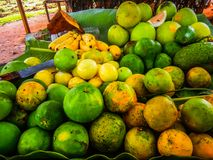 Tropical fruits on a table in zanzibar africa royalty free stock photography