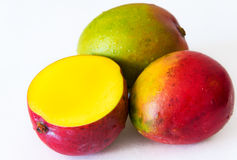 Tropical Fruits: Three Mangos White Background Not Isolated Royalty Free Stock Photos