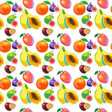 Tropical Fruits Vitamin Food Seamless Pattern Royalty Free Stock Image