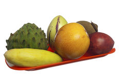 Tropical fruits on white background. Some tropical fruits on a white background stock photography