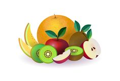 Tropical fruits on white background, healthy lifestyle or diet concept, logo for fresh fruits vector illustration