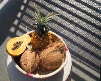 Tropical fruit basket royalty free stock photos