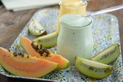 Tropical fruits yogurt Royalty Free Stock Photo