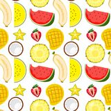A Tropical Fruity Seamless. Illustration vector illustration