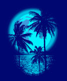 Tropical Full Moon. Over the ocean. Reflection of palm trees and tropical moon night. Vector Stock Photo