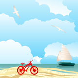 Tropical fun. Bicycle and sail boat, cloudy sky ocean and sand  Tropical vacation concept Royalty Free Stock Images