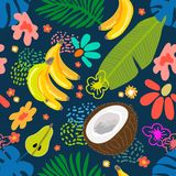 Tropical garden blossom. Seamless botanical pattern with exotic flowers, coconuts and bananas inspired by 1950s-1960s design. Retro textile collection. On white vector illustration